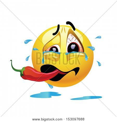 Very hot chili pepper causing pain and fear with smiley who eats it. Humoristic vector illustration. Shock because of the first bite. Smileys eating chili. Making funny faces.