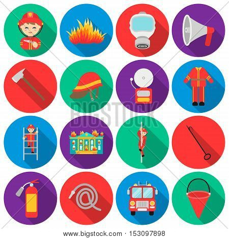 Fire department set icons in flat style. Big collection fire department vector symbol stock