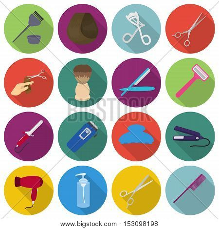 Hairdressery set icons in flat style. Big collection hairdressery vector symbol stock