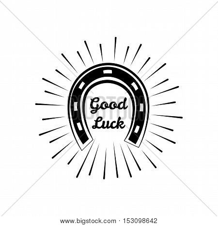 Horseshoe. Wild West Label. Good Luck Badge. Western Illustration Vector. Isolated On White Background