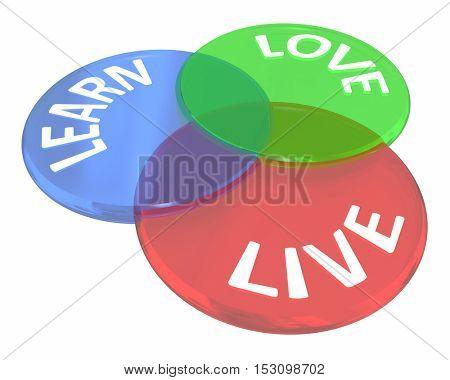 Live Learn Love Life Experience Venn Diagram Circles 3d Illustration