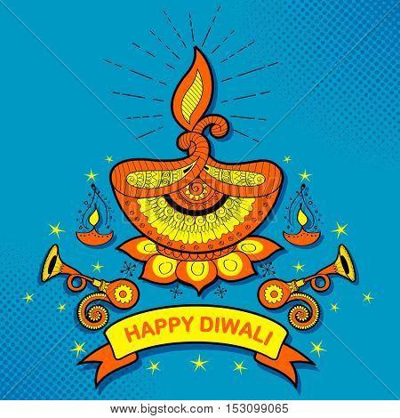 illustration of burning diya on Happy Diwali Holiday background for light festival of India