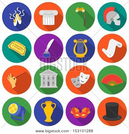 Theater set icons in flat style. Big collection theater vector symbol stock