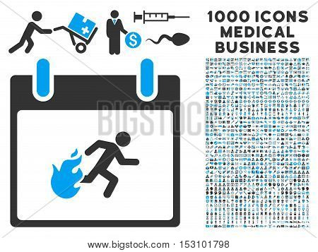 Blue And Gray Fire Evacuation Man Calendar Day glyph icon with 1000 medical business pictograms. Set style is flat bicolor symbols, blue and gray colors, white background.
