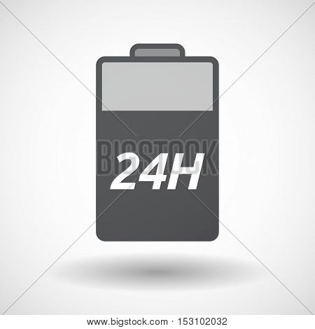 Isolated  Battery Icon With    The Text 24H