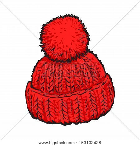 Bright red winter knitted hat with pompon, sketch style vector illustrations isolated on white background. Hand drawn woolen hat with a big fluffy pompom, winter accessory