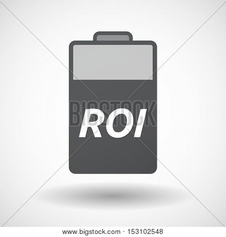 Isolated  Battery Icon With    The Return Of Investment Acronym Roi