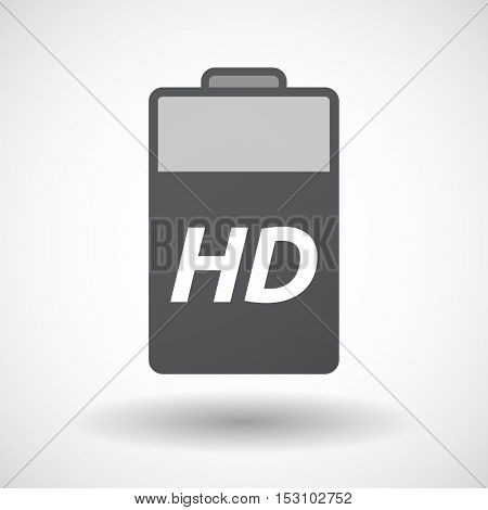 Isolated  Battery Icon With    The Text Hd