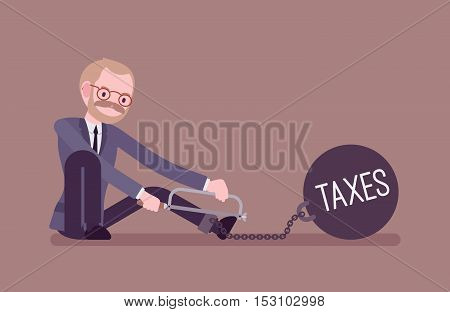 Businessman chained with a giant metall weight with a title Taxes trying to escape, sawing. Cartoon vector flat-style concept illustration