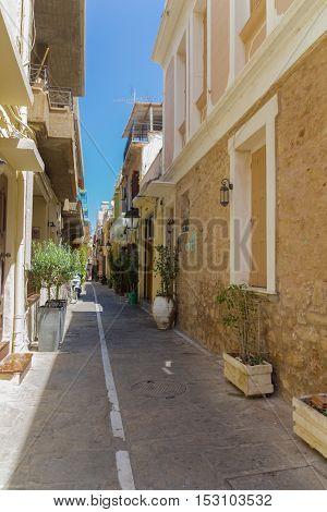 Rethymno, Greece. July  26. 2016: Narrow Venetian Street.