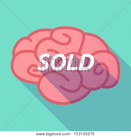 Long Shadow Pink Brain Icon With    The Text Sold