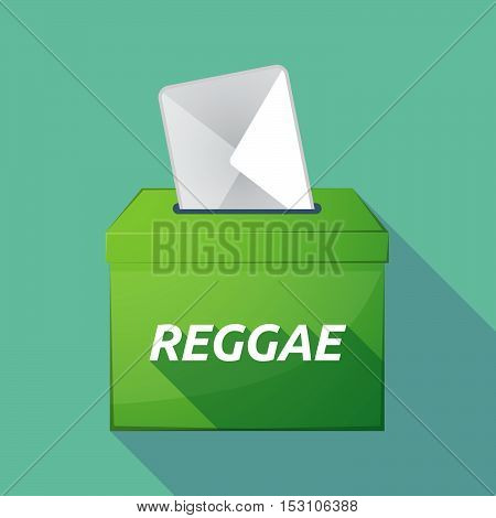 Long Shadow Ballot Box With    The Text Reggae
