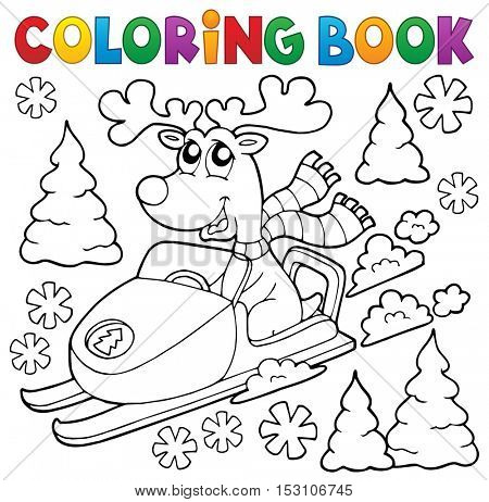 Coloring book reindeer in snowmobile - eps10 vector illustration.