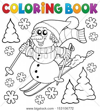 Coloring book skiing snowman theme 1 - eps10 vector illustration.