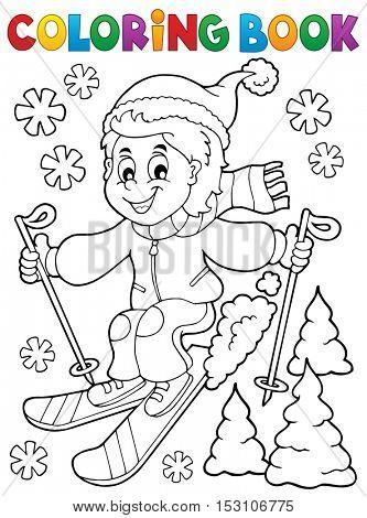 Coloring book skiing boy theme 1 - eps10 vector illustration.