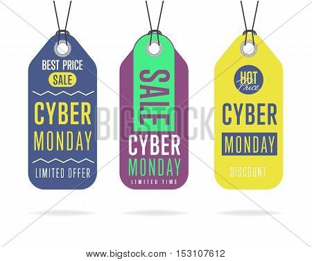 Cyber Monday sale tag sticker vector isolated. Discount or special offer price tag on Cyber Monday. Promo offer or ad offer on special shopping day.