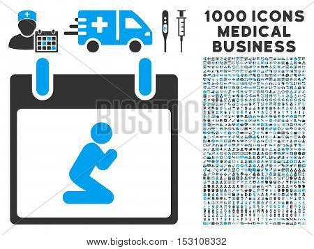 Blue And Gray Pray Person Calendar Day glyph icon with 1000 medical business pictograms. Set style is flat bicolor symbols, blue and gray colors, white background.