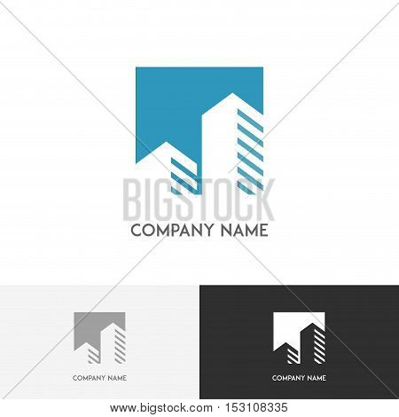 Skyscraper arrow logo - megalopolis with multi-storey buildings on the white background