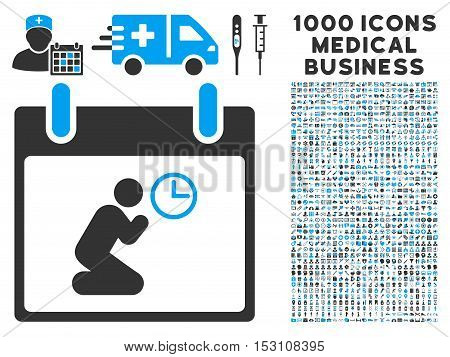 Blue And Gray Pray Time Calendar Day glyph icon with 1000 medical business pictograms. Set style is flat bicolor symbols, blue and gray colors, white background.
