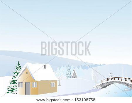 River winter landscape day illustration vector-winter background