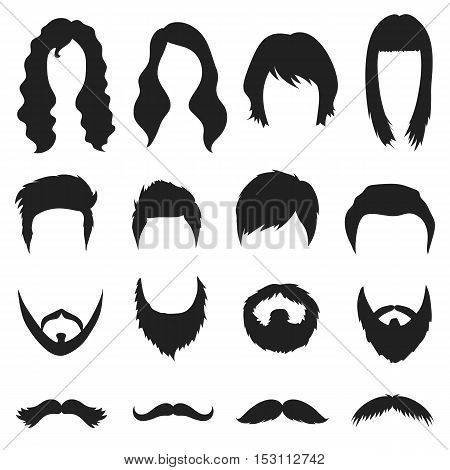Beard set icons in black style. Big collection beard vector symbol stock