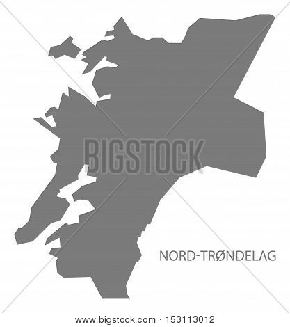 Nord-Trondelag Norway Map grey illustration high res poster