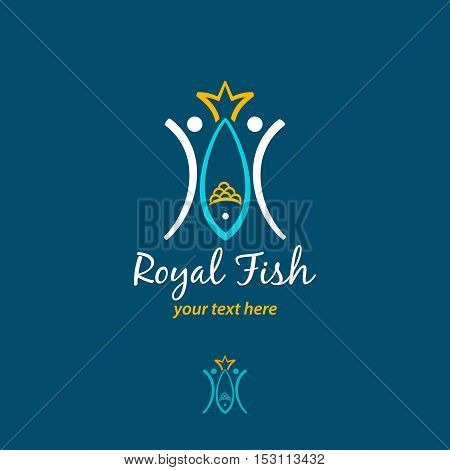 Royal Fish Logotype. Two Fishmen Catch A Big Fish With Tail In Form Of Crown. Vector Logo Concept. V