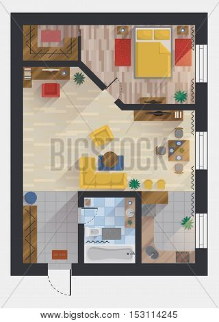Apartment or flat, house or floor plan design top view. Planning or designing studio and bedroom, dining room and kitchen, bathroom and storeroom, hall and private cabinet. For architect theme
