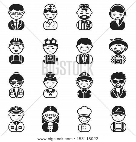 Proffesion set icons in black style. Big collection proffesion vector symbol stock