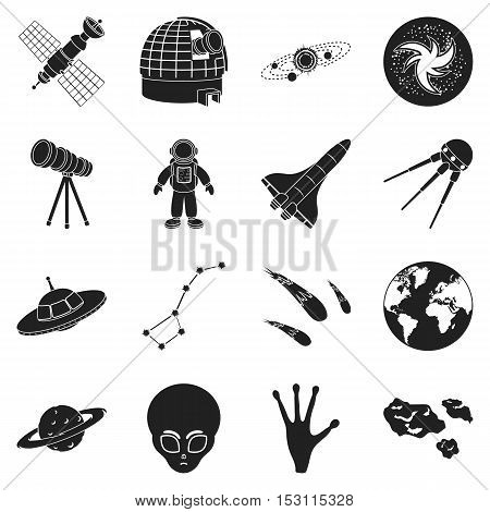 Space set icons in black style. Big collection space vector symbol stock