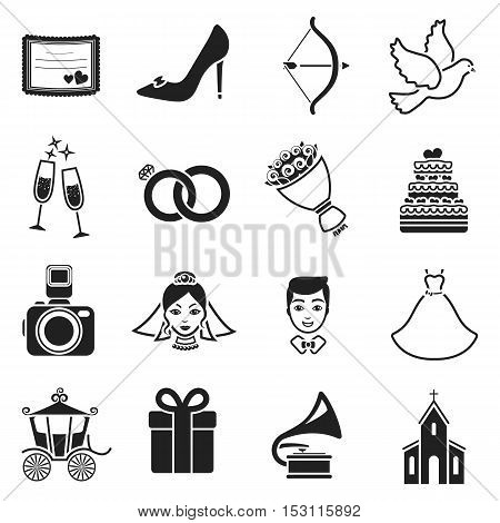 Weeding set icons in black style. Big collection wedding vector symbol stock