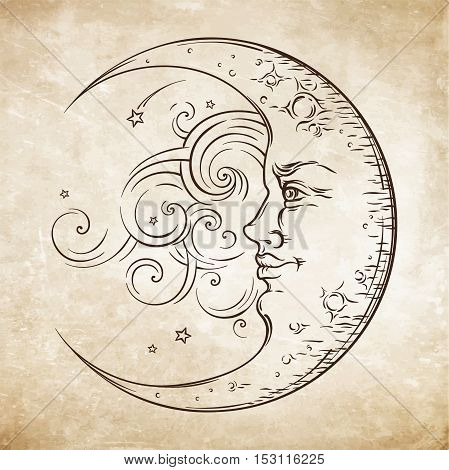 Antique Style Hand Drawn Art Crescent Moon. Boho Chic Tattoo Design Vector