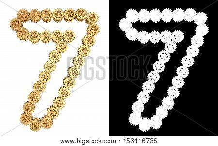 Number seven from gold gear mechanism. Alpha channel. 3D illustration