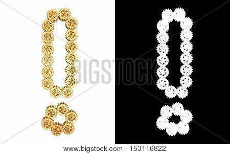 Exclamation mark from gold gear mechanism. Alpha channel. 3D illustration