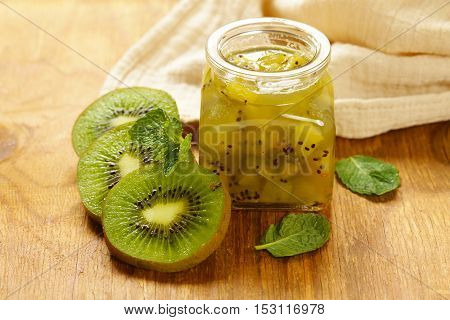 Homemade organic jam of kiwi. Healthy natural food