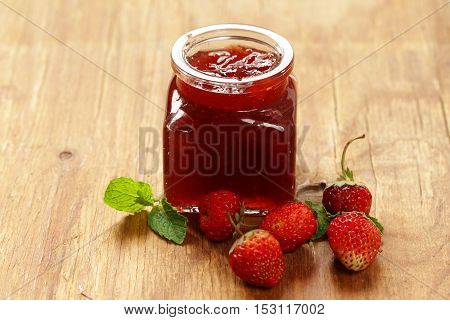 Homemade organic strawberry jam. Healthy natural food