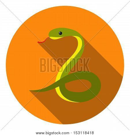 Snake icon in flat style isolated on white background. Animals symbol vector illustration.