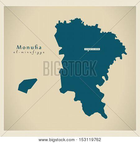 Modern Map - Monufia EG vector high res