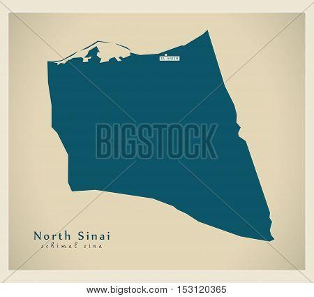 Modern Map - North Sinai EG vector high res