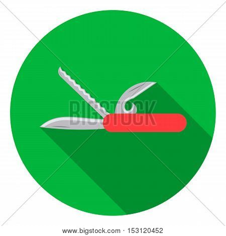 Knife icon in flat style isolated on white background. Camping symbol vector illustration.