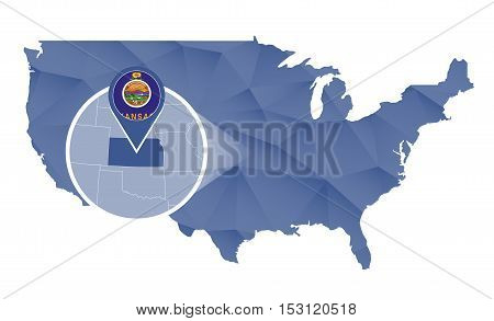 Kansas State Magnified On United States Map.