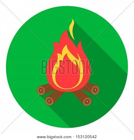 Campfire with firewood icon in flat style isolated on white background. Camping symbol vector illustration.