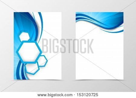 Front and back wave flyer template design. Abstract template with blue lines and white hexagons in dynamic smooth style. Vector illustration