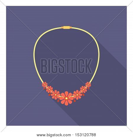 Necklace icon in flat style isolated on white background. Clothes symbol vector illustration.