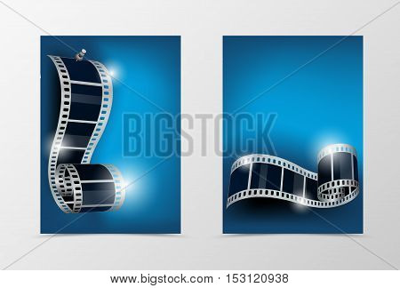 Front and back dynamic cinema template design. Abstract template with film reel with stud on blue background in smooth style. Vector illustration
