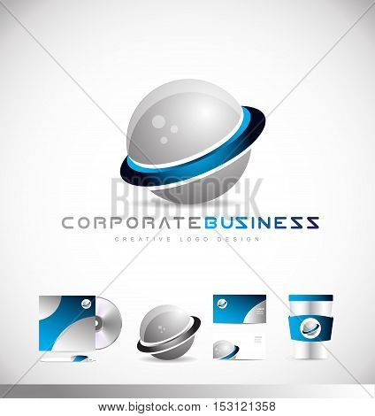Sphere 3d planet corporate business vector logo icon sign design template corporate identity