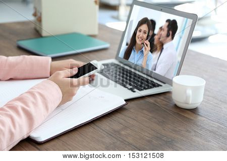 Video call with technical support operator. Helpdesk service concept.