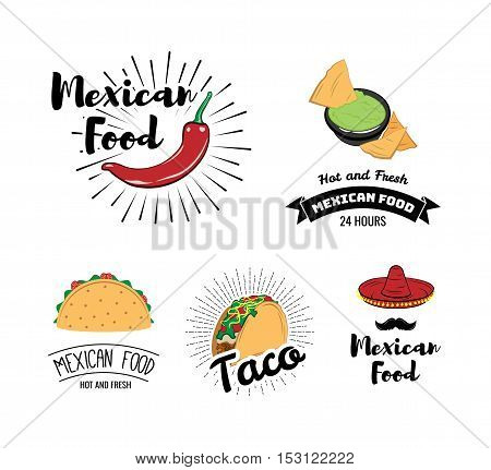 Mexican Food Chili Pepper. Nachos Sauce Salsa. Taco. Sombrero. Badges Labels. A restaurant or Cafe. Mexico Food. Traditional Mexican Cuisine. An Isolated Object. Vector Illustration
