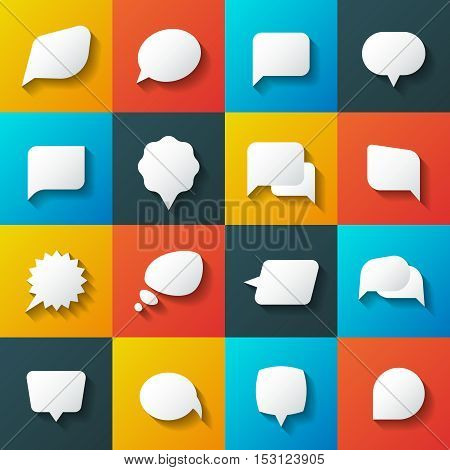 Retro converse speech bubble vector icons. Communication elements for conversation and message illustration