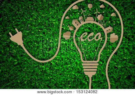 World Environment Day. let's save the world.ecology concept.green city concept on paper craft die cut. Eco design - Green and Sustainable vector grass blurred background .